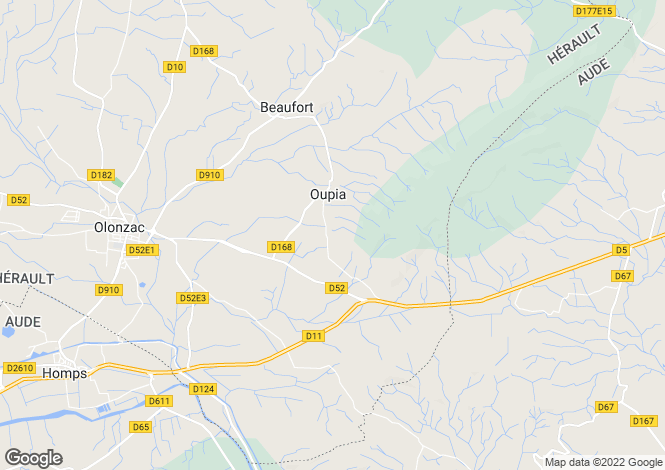 Map for oupia, Hérault, France