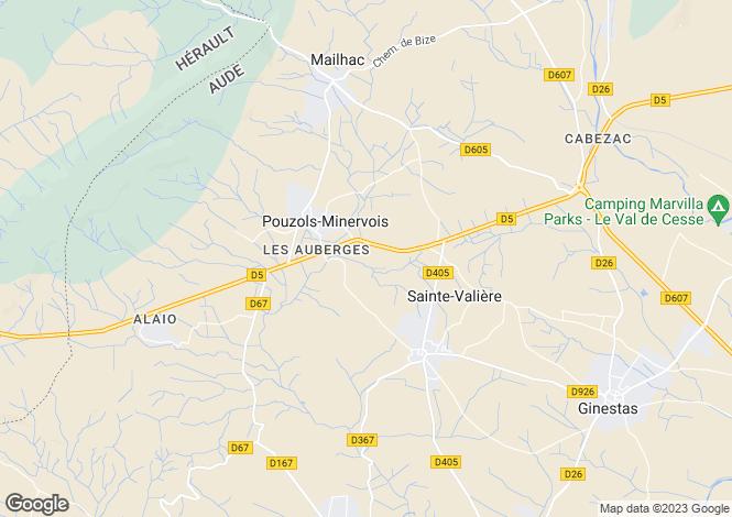Map for pouzols-minervois, Aude, France