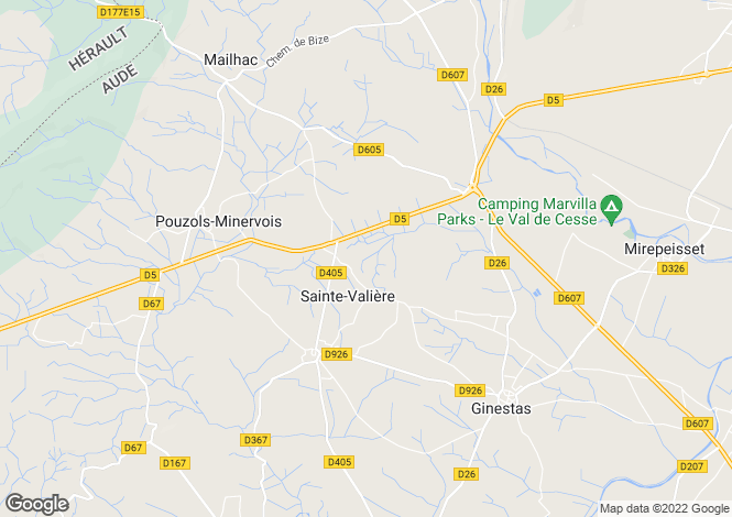 Map for ste-valiere, Aude, France