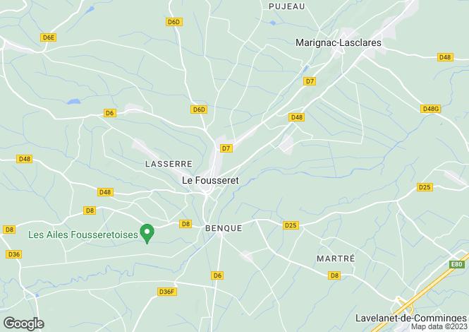 Map for Midi-Pyrénées, Haute-Garonne, Le Fousseret