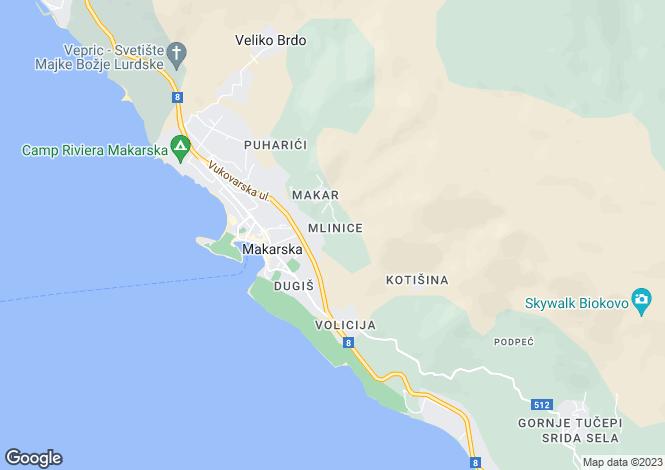 Map for Split-Dalmatia, Makarska