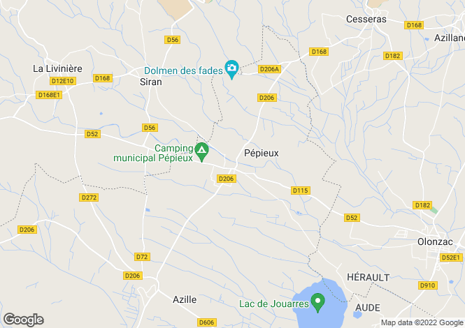 Map for pepieux, Aude, France