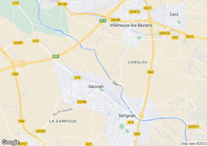Map for sauvian, Hérault, France