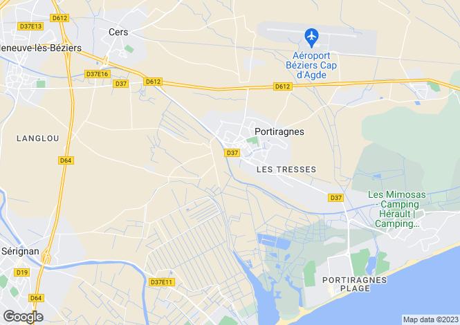 Map for portiragnes, Hérault, France