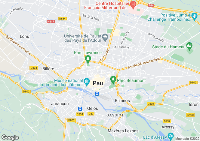 Map for Pau,France