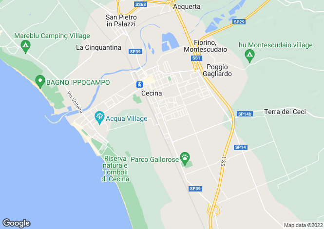 Map for Tuscany, Livorno, Cecina