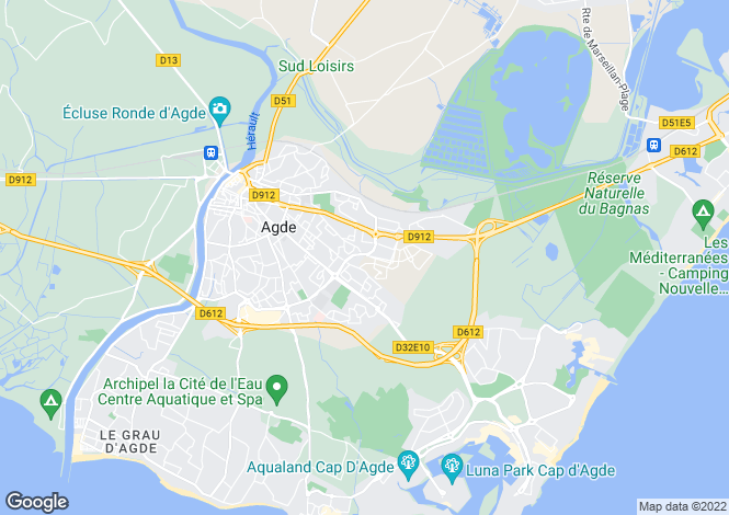 Map for Agde, Languedoc-Roussillon, France
