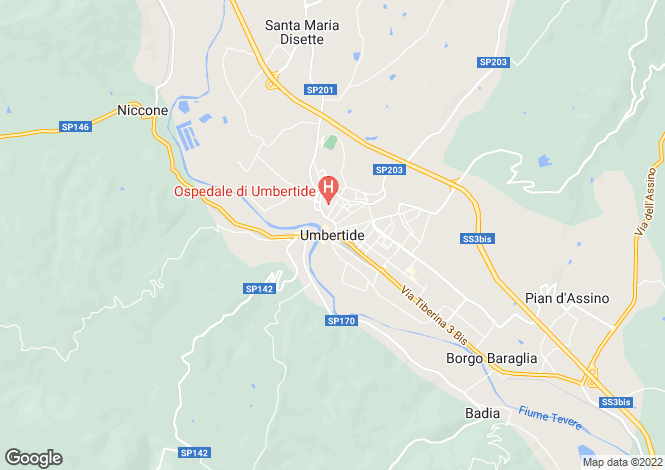Map for Umbertide, Umbria, Italy