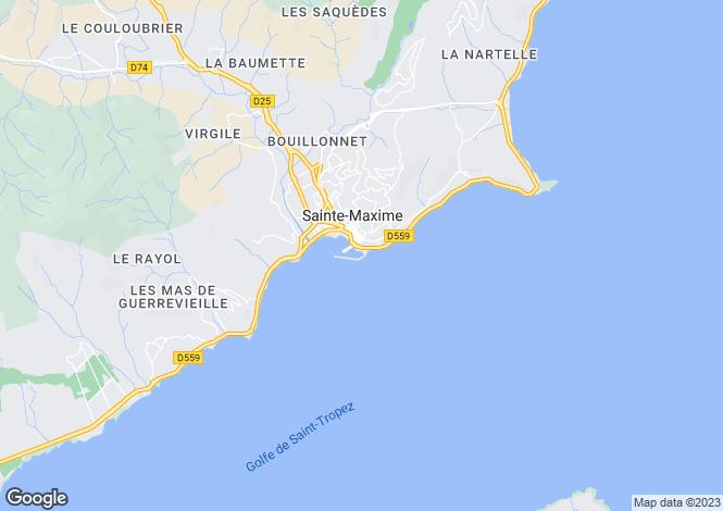 Map for Sainte-Maxime near the Port, Var, France