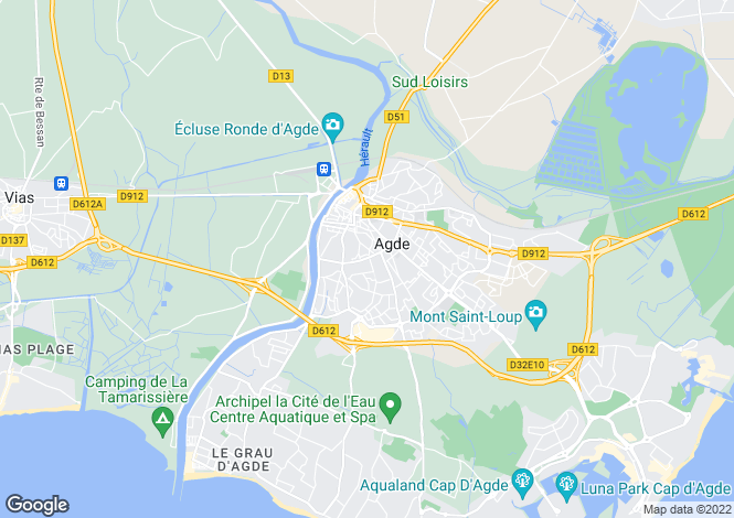 Map for AGDE, Herault (Montpellier, Pezenas), Occitanie,