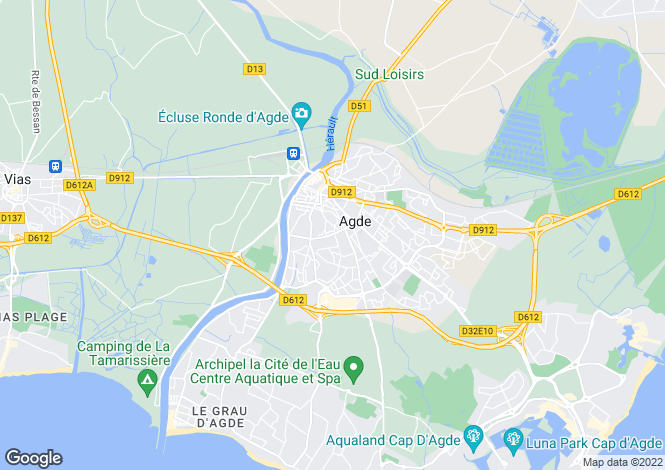 Map for Languedoc-Roussillon, Hérault, Agde