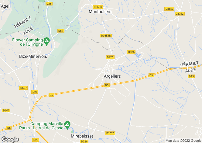 Map for argeliers, Aude, France