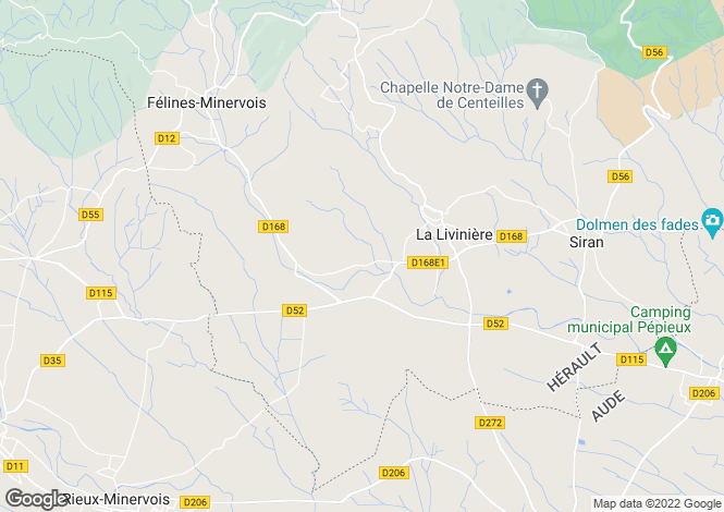 Map for La Livinière, Hérault, Languedoc-Roussillon