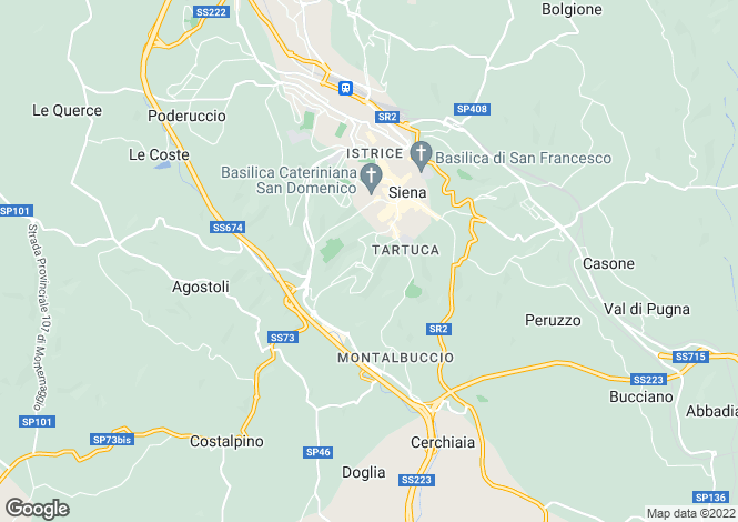 Map for Siena,Italy