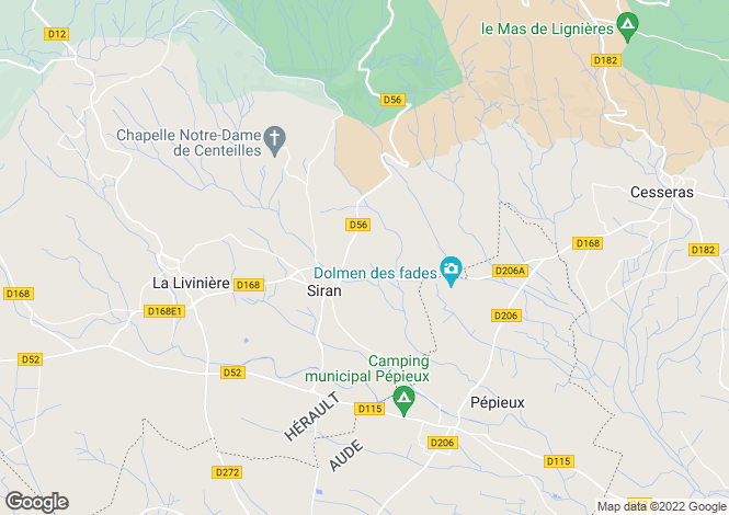 Map for siran, Hérault, France