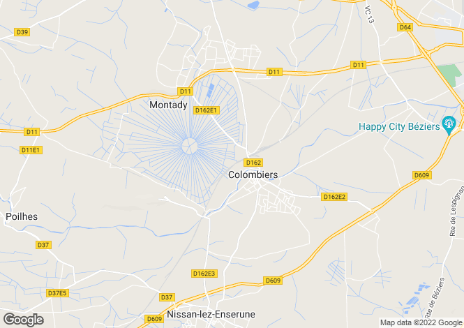Map for colombiers, Hérault, France