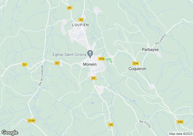 Map for Monein, Pyrénées-Atlantiques, Aquitaine