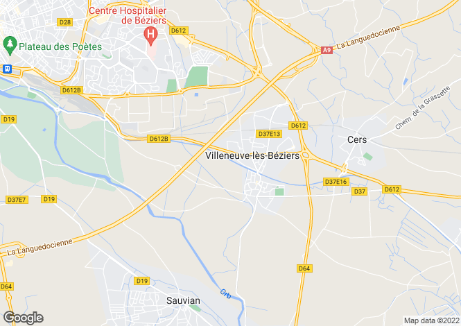 Map for villeneuve-les-beziers, Hérault, France