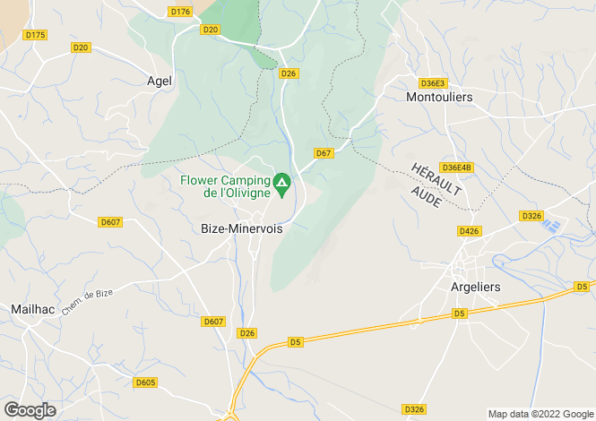 Map for Languedoc-Roussillon, Aude, Bize-Minervois