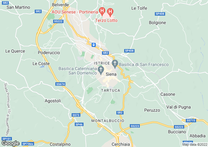 Map for Siena, Siena, Tuscany