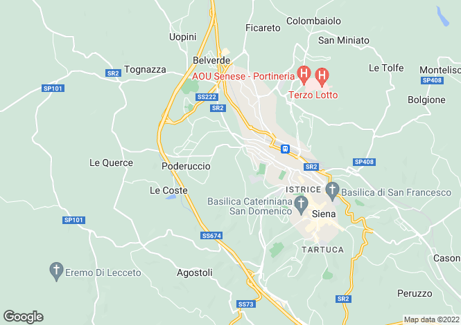 Map for Siena, Siena, Tuscany