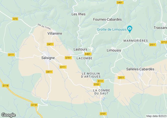 Map for Languedoc-Roussillon, Aude, Lastours