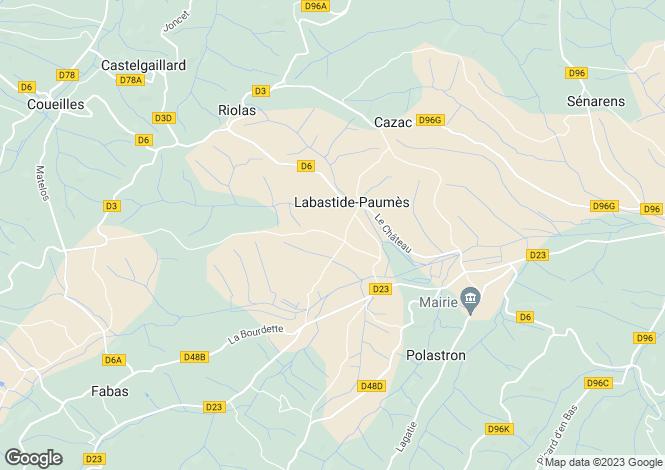 Map for Midi-Pyrénées, Haute-Garonne, Labastide-Paumès