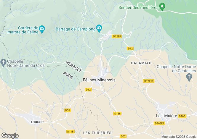 Map for Languedoc-Roussillon, Hérault, Félines-Minervois
