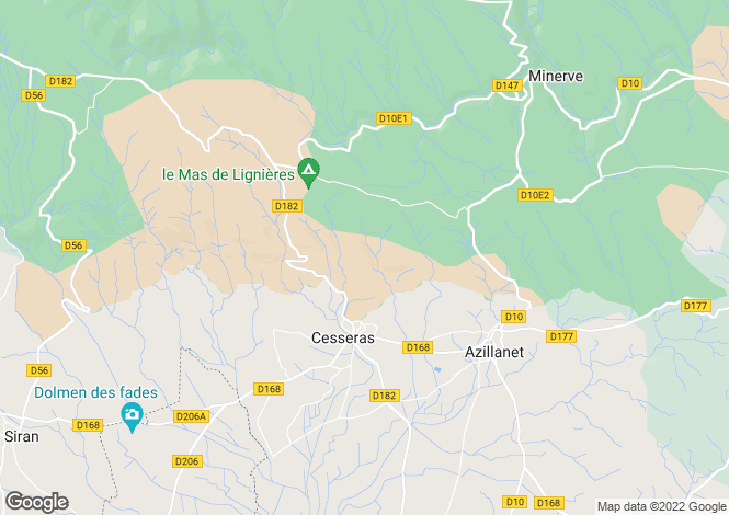 Map for Cesseras, Hérault, Languedoc-Roussillon