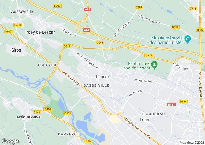 Map for lescar, Pyrénées-Atlantiques, France