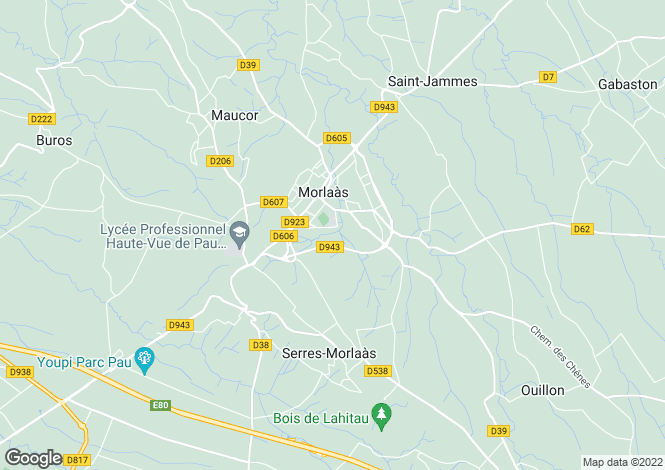 Map for morlaas, Pyrénées-Atlantiques, France