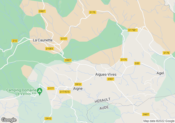 Map for Languedoc-Roussillon, Hérault, Aigues-Vives