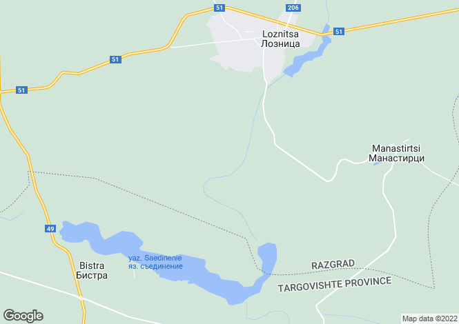Map for Loznitsa, Razgrad