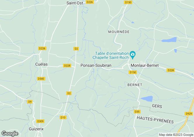 Map for Ponsan-Soubiran, Gers, Midi-Pyrénées