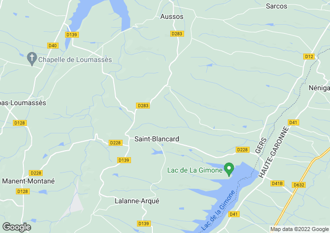 Map for st-blancard, Gers, France