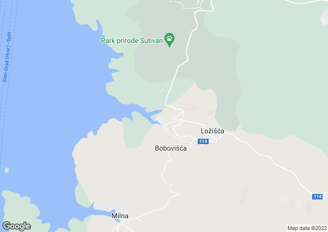 Map for Bobovisca, Brac Island, Split-Dalmatia