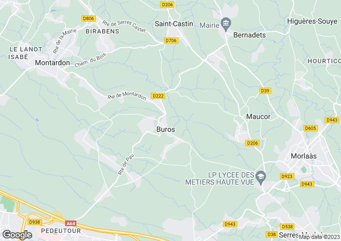 Map for buros, Pyrénées-Atlantiques, France