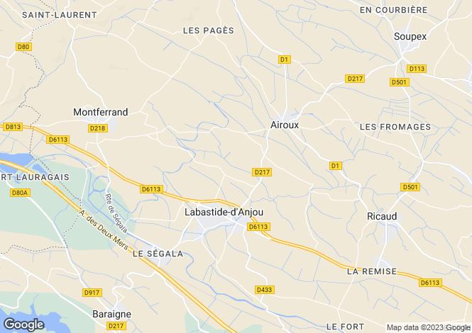 Map for Languedoc-Roussillon, Aude, Labastide-d'Anjou
