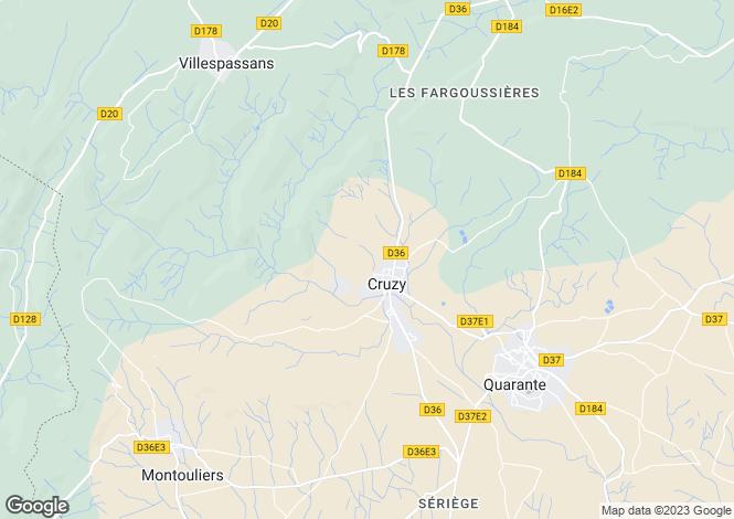 Map for cruzy, Hérault, France