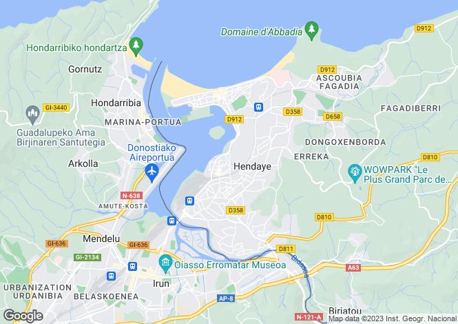 Map for Aquitaine, Pyrénées-Atlantiques, Hendaye