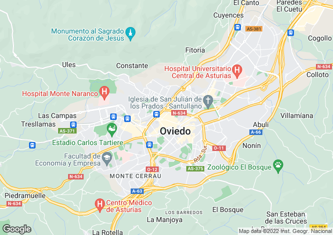 Map for Oviedo, Asturias, Spain