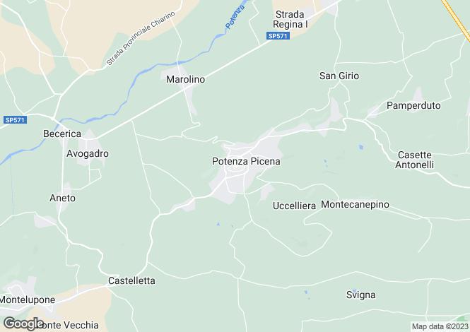 Map for Le Marche, Macerata, Potenza Picena