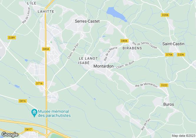 Map for montardon, Pyrénées-Atlantiques, France