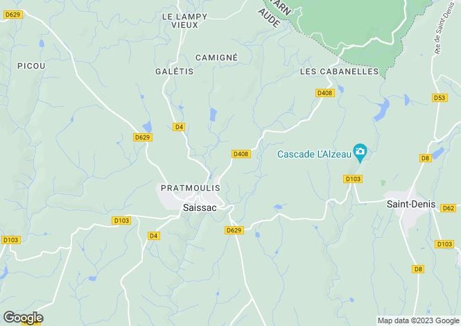 Map for Languedoc-Roussillon, Aude, Saissac