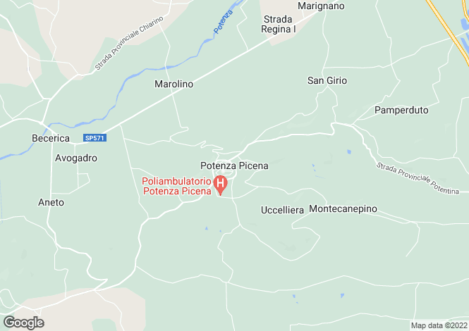 Map for Potenza Picena, Macerata, Le Marche