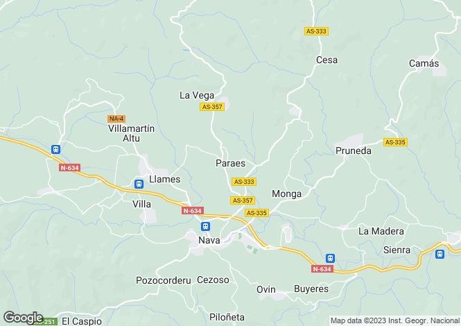 Map for Paraes, Asturias, Spain