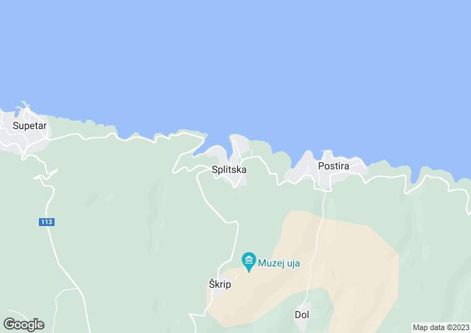 Map for Splitska, Brac Island, Split-Dalmatia