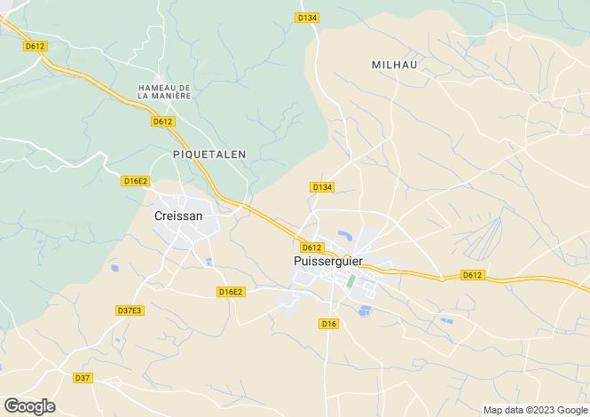 Map for Languedoc-Roussillon, Hérault, Puisserguier