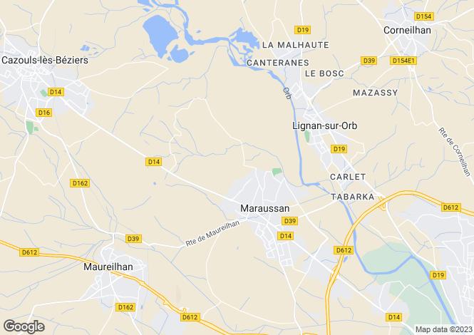 Map for maraussan, Hérault, France