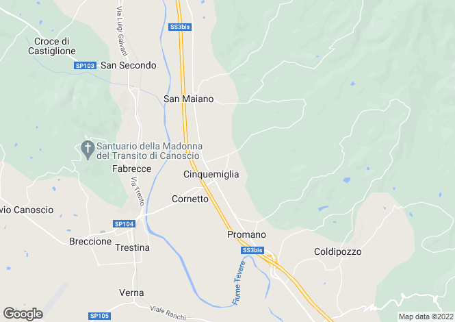 Map for Umbria, Perugia, Città di Castello